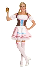 Pink Adult Cosplay Beer Girl Halloween Maid Costume