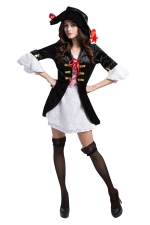 Womens Cool Mini Robe Corsaire Halloween Pirate Costume Black