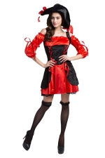 Womens Off Shoulder Straps Decorated  Halloween Pirate Costume Red