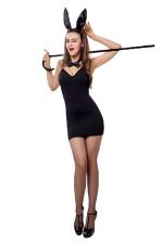 Womens Spaghetti Strap Halloween Bunny Costume Black