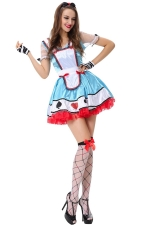 Womens Poker Alice Halloween Fairytale Costume Blue