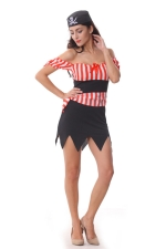 Womens Off Shoulder Halloween Pirate Costume Red