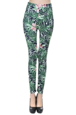 Womens Floral Printed Slimming Sexy Leggings Green