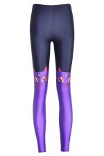 Ladies Stylish Womens Cat Slimming Animal Print Leggings Purple