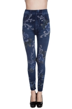 Womens Peony Printed Jeans Imitated High Waisted Leggings Blue