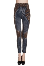 Womens Leopard Printed Jeans Imitated High Waisted Leggings Blue