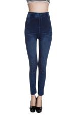 Womens High Waisted Geometric Jeans Imitated Leggings Blue