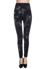 Womens Tie Dye Slimming Sexy High Waisted Leggings Gray