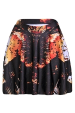 Black Forest and Bat Printed Slimming Womens Pleated Skirt