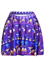 Sapphire Blue Womens Slimming Monkey Printed Pleated Skirt