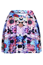 Purple Womens Slimming Floral Skull Printed Pleated Skirt