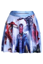 Navy Blue Womens The Avengers Printed Pleated Skirt