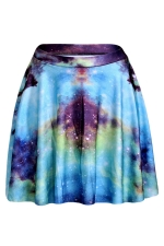 Blue Womens Slimming Galaxy Printed Pleated Skirt
