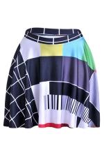 Black Womens Slimming Plaid Printed Pleated Skirt