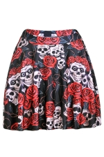 Black Womens Slimming Floral Skull Printed Pleated Skirt
