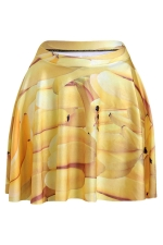 Yellow Womens Slimming Banana Printed Pleated Skirt