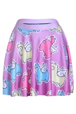 Rose Red Womens Slimming Fly Sheep Printed Pleated Skirt