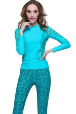 Turquoise Ultraviolet-proof Color Blocking Fashion Womens Diving Suit