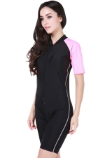 Pink Ultraviolet-proof Chic Color Blocking Womens Diving Jumpsuit