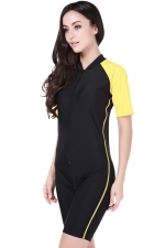 Yellow Ultraviolet-proof Chic Color Blocking Womens Diving Jumpsuit