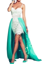 Womens Attractive Sleeveless Color Block Cocktail Evening Dress White