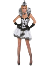 Womens Plaid Poker Sexy Halloween Costume White