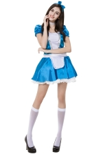 Womens Adult Chic Halloween Maid Costume Blue
