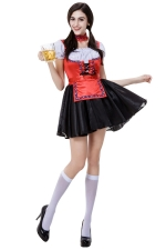 Womens Adult Beer Maid Halloween Costume Red