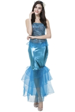 Womens Off Shoulder Sexy Mermaid Halloween Costume Blue