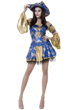 Womens Adult Bow Sexy Halloween Pirate Costume Blue