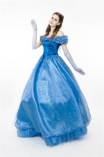 Women Fantastic Off Shoulder Cosplay Cinderella Halloween Costume Blue