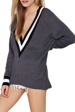 Girls Casual Plus Size V Neck Preppy Chic Knitted Sweater Dark Grey