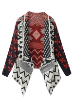 Womens Irregular Geometry Long Sleeve Sweater Coat Black