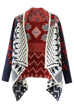 Womens Irregular Geometry Long Sleeve Sweater Coat Navy Blue
