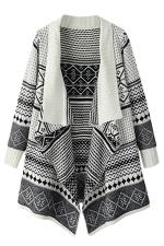 Womens Jacquard Knitte Cardigan Sweater Coat White