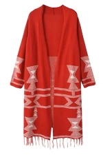 Womens Christmas Tree Printed Fringe Cardigan Sweater Coat Red