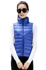 Womens Stand Collar Light Quilted Down Vest Blue