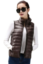 Womens Stand Collar Light Quilted Down Vest Coffee