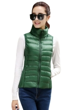 Womens Stand Collar Light Quilted Down Vest Green