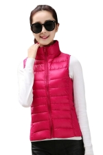 Womens Stand Collar Light Quilted Down Vest Rose Red