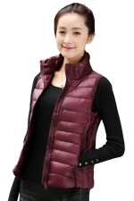 Womens Stand Collar Light Quilted Down Vest Ruby