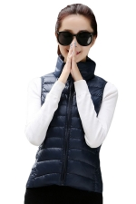 Womens Stand Collar Light Quilted Down Vest Navy Blue