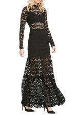 Womens Long Sleeve Lace Patchwork Maxi Evening Dress Black