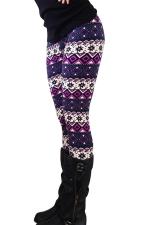 Womens High Waisted Geometric Printed Leggings Purple