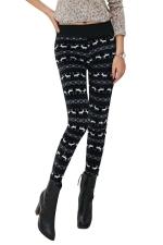Womens Lined Reindeer Patterned High Waist Leggings Black