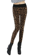 Womens Lined Leopard Patterned High Waist Leggings Brown