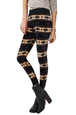 Womens Lined Patterned High Waisted Leggings Coffee