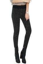 Womens Lined Polka Dot Patterned High Waist Leggings Black