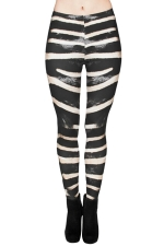 Womens Pretty High Waist Zebra Printed Leggings Black