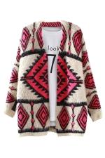 Womens Diamond Geometric Pattern Mohair Warm Cardigan Sweater Coat Red